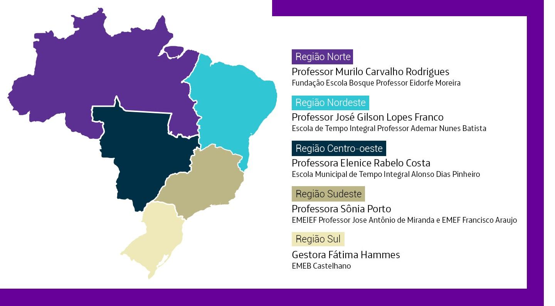 Imagem mostra mapa do Brasil com as 5 regiões destacadas. Em cada uma delas há uma seta que indica o nome do professor que participou da websérie e a escola onde atua.