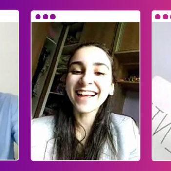 Imagem do 1º Demoday Virtual do Pense Grande traz uma colagem com os integrantes do grupo Coovalente, Vitor Pereira, Danielly Goes e Ana Júlia Santos. Eles estão em frames separados, com o fundo rosa e roxo.