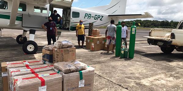 Imagem registra a doação de equipamentos médicos doados pela Fundação Telefônica Vivo em ação emergencial de apoio ao Amazonas