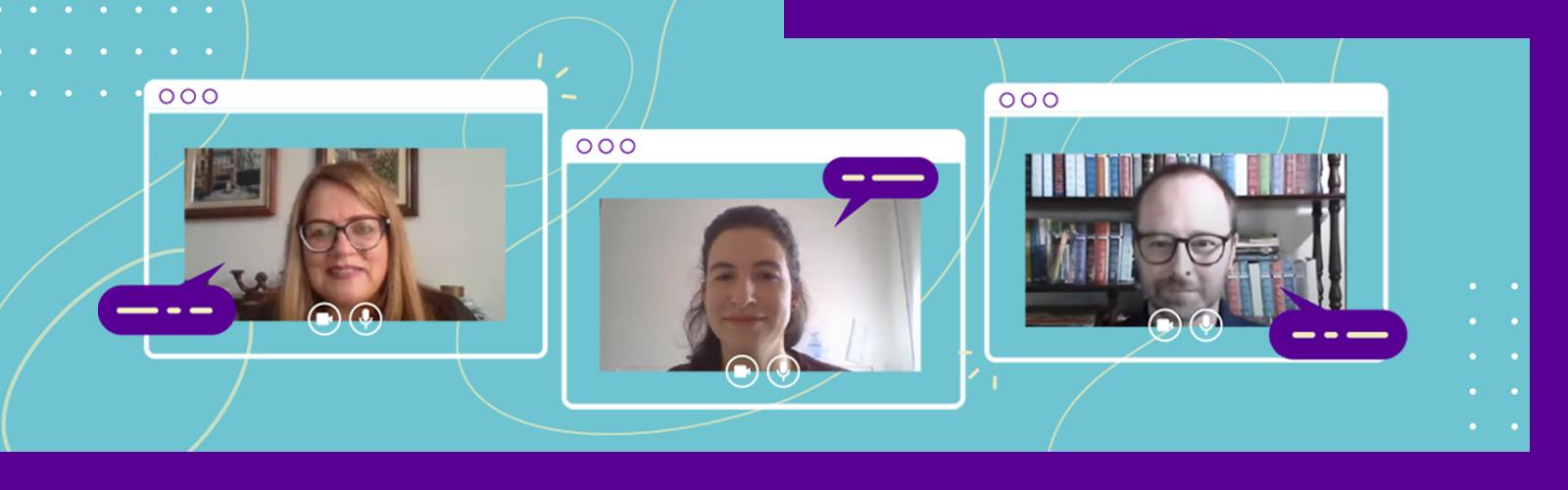 A imagem é o print da tela de computador com a participação da assistente pedagógica, Cintia Bauer, da gerente de projetos sociais da Fundação Telefônica Vivo, Renata Altman e do formador do Aula Digital, Ricardo Gausman