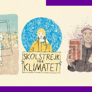 montagem com ilustrações do livro 21 histórias de estudantes que mudaram a escola