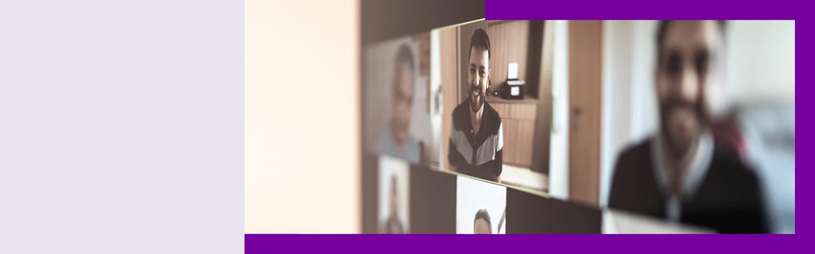 Texto Alternativo Imagem de uma videochamada com participantes em tela do computador