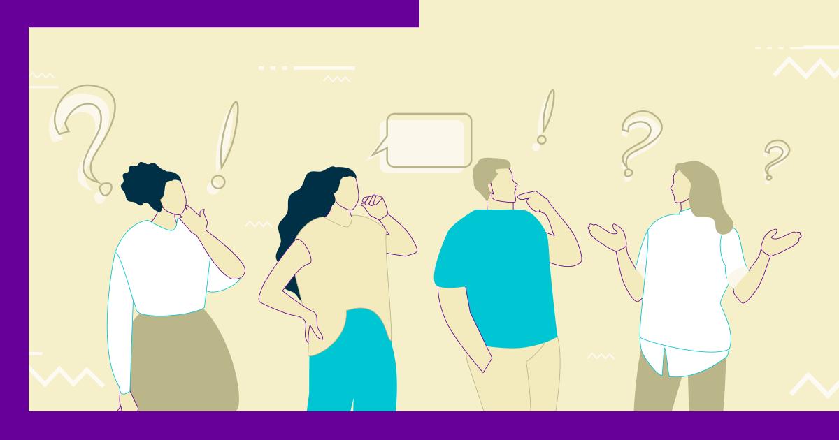 ilustração com o desenho de quatro pessoas uma ao lado da outra em volta de alguns símbolos de pontuação como a exclamação e o ponto de interrogação