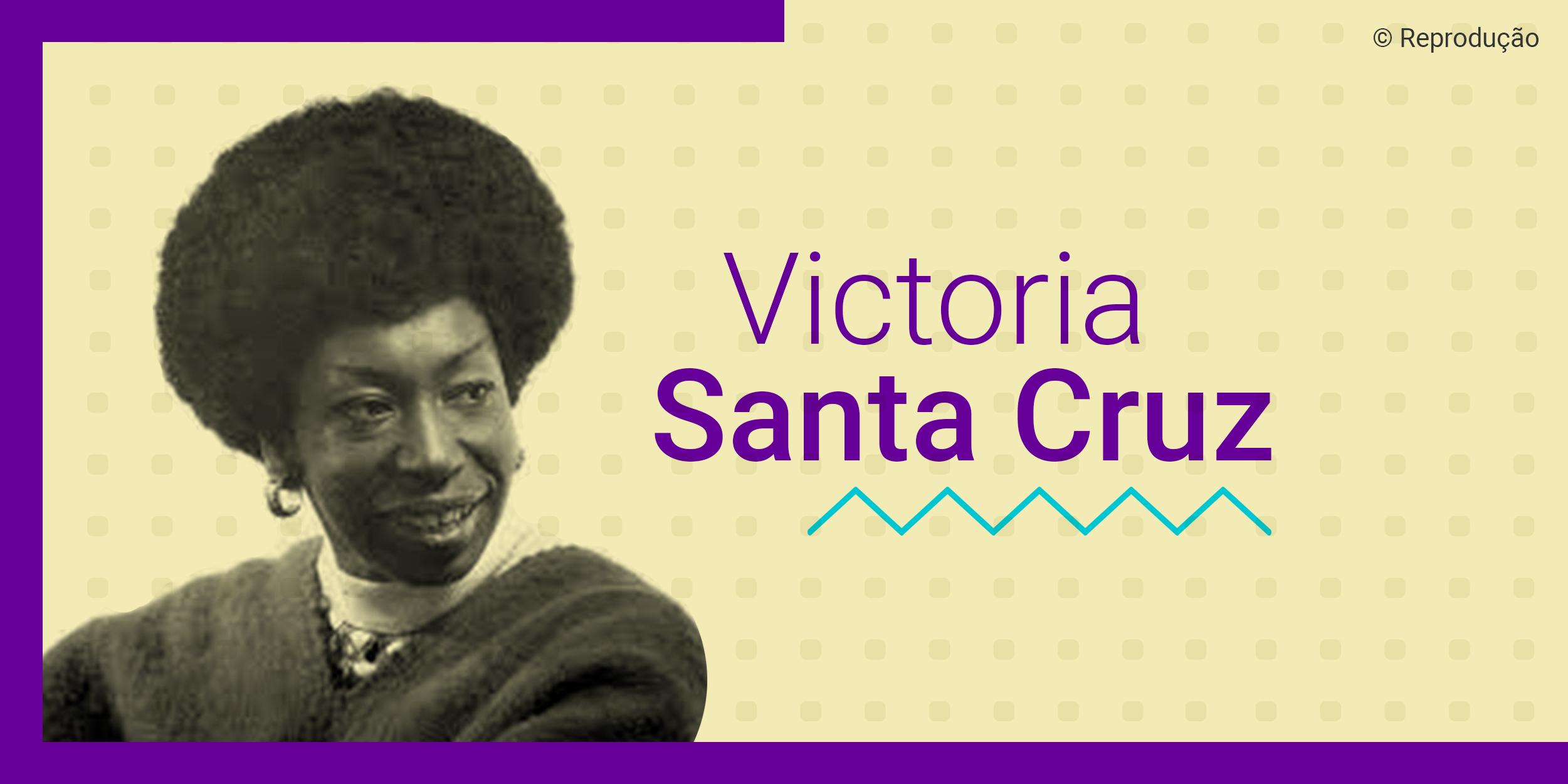 Ilustração com a foto em branco e preto de Victoria Santa Cruz