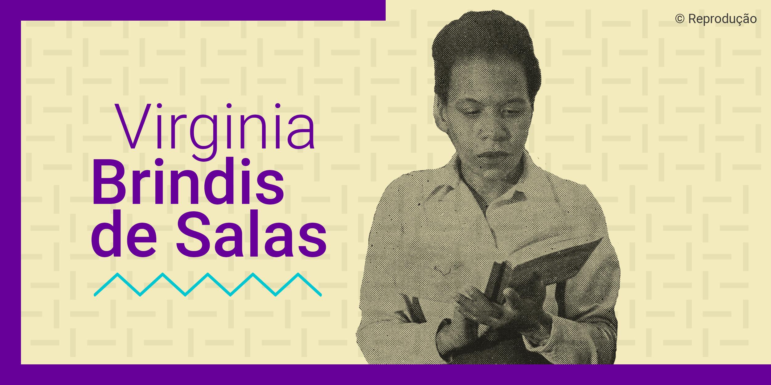 Card com uma foto de Virginia Brinds de Sala com livros na mão e olhando para baixo