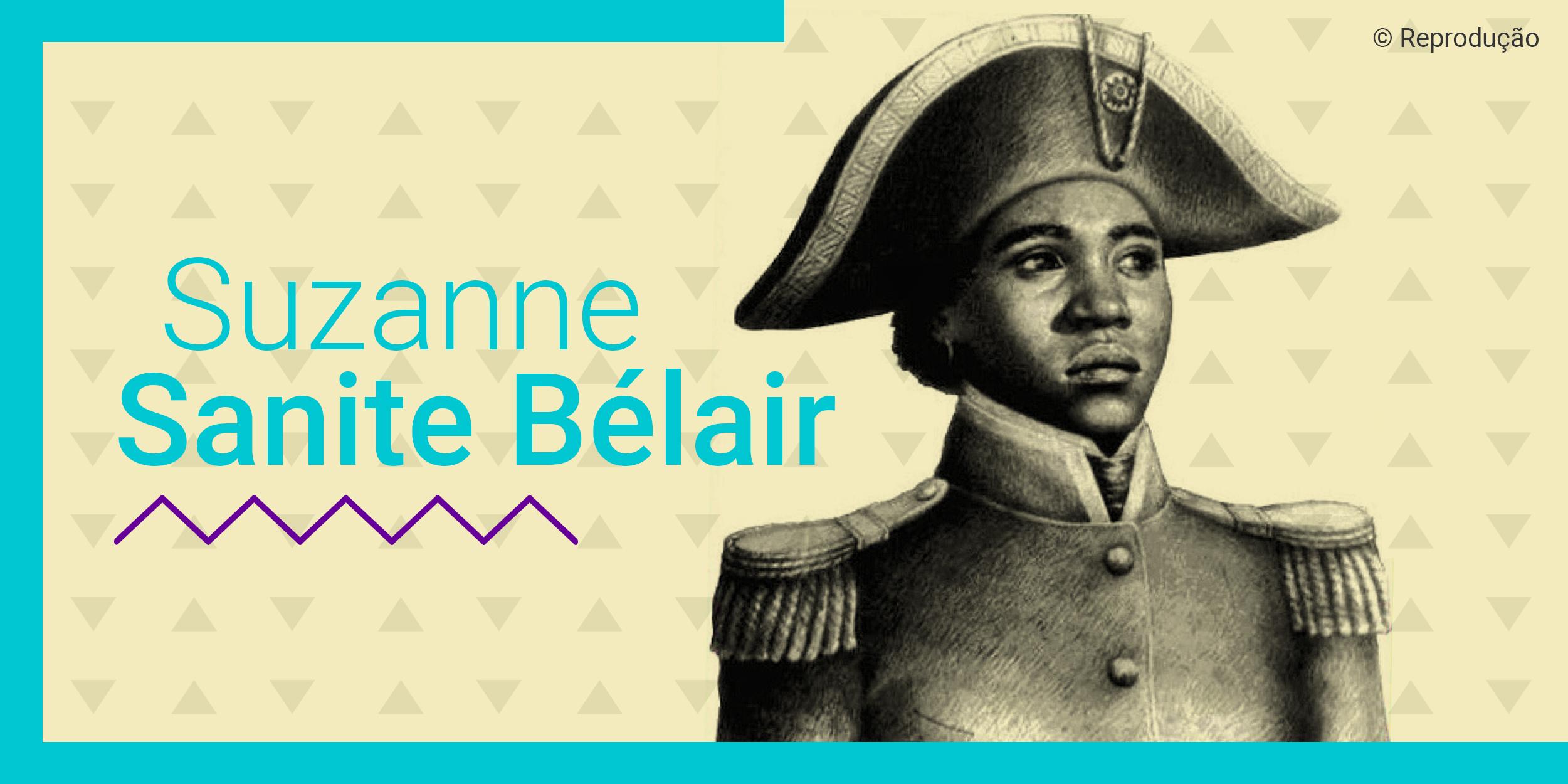 Card com uma lustração de Suzane Sanite Bélair em branco e preto