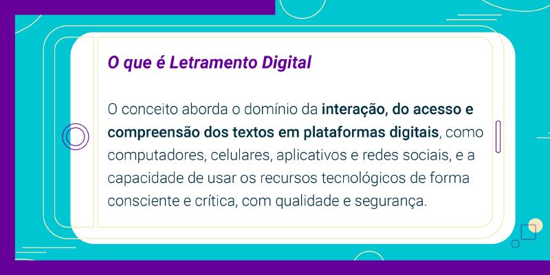 """Imagem de infográfico com o texto """"o que é letramento digital?"""""""
