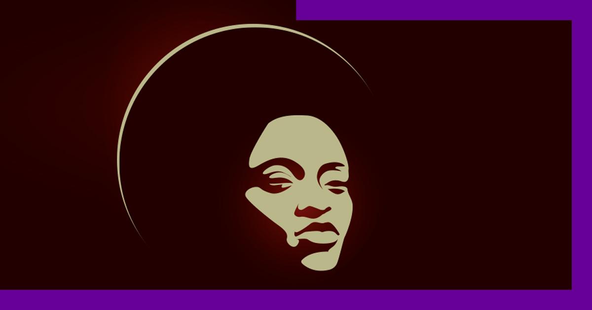 Ilustração de uma mulher negra, com blackpower, olhando para frente