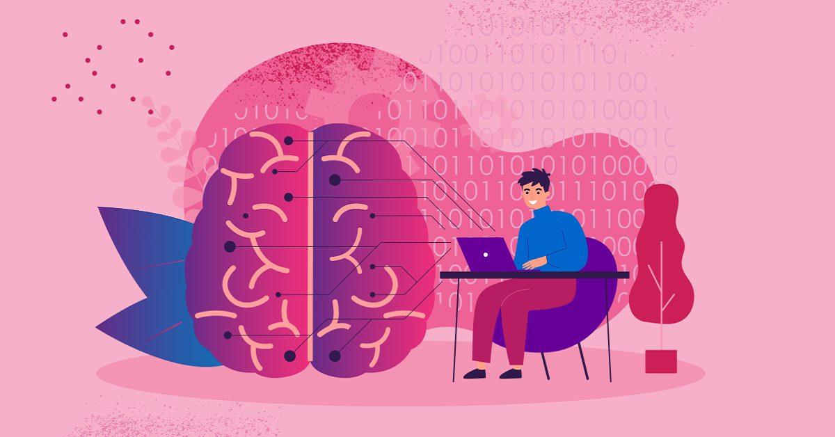 imagem ilustrativa de uma pessoa no computador e um cérebro ao lado mostra como funciona o cérebro dos programadores