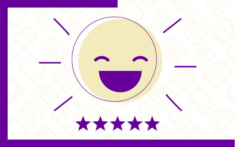 Ícone que representa a opção Conhecimento Avançado: Case de sucesso! no Quiz do Ensino Híbrido. Traz uma ilustração de um rosto gargalhando e cinco estrelas na cor roxa
