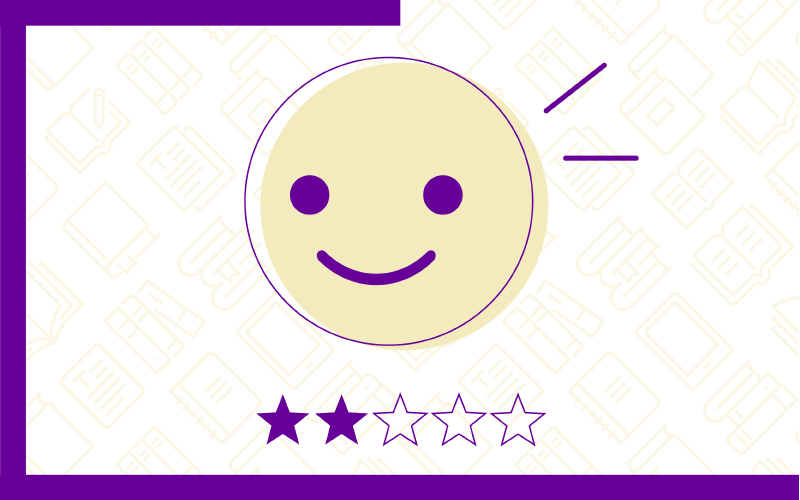 Ícone que representa a opção Conhecimento Básico: Iniciando a jornada! no Quiz do Ensino Híbrido. Traz uma ilustração de um rosto sorrindo e duas estrelas na cor roxa