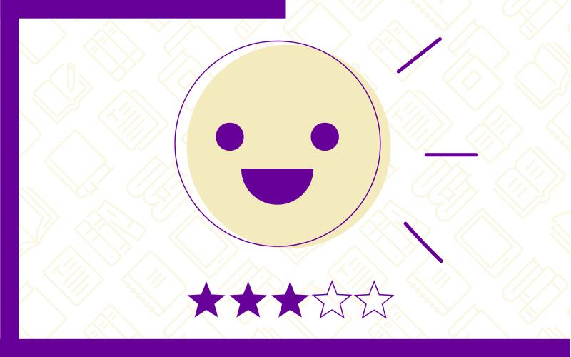 Ícone que representa a opção Conhecimento Intermediário: Mergulhando na Tendência! no Quiz do Ensino Híbrido. Traz uma ilustração de um rosto sorrindo e três estrelas na cor roxa